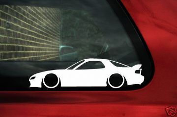 2x LOW Mazda Rx7 FD Spirit R, Type RZ Silhouette outline stickers, Decals